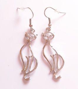 Jewelry - Silver tone Cat dangle open wire earrings EUC